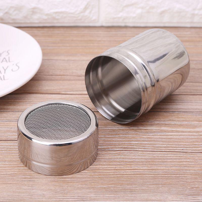 Stainless Steel Filter Shaker Seasoning Bottle Coffee Powder Cocoa Strainer Jar
