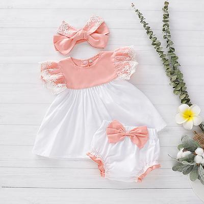 Infant Baby Girls Ruffle Romper Tops Bowknot Floral Bloomer Shorts Headband Outfits Set
