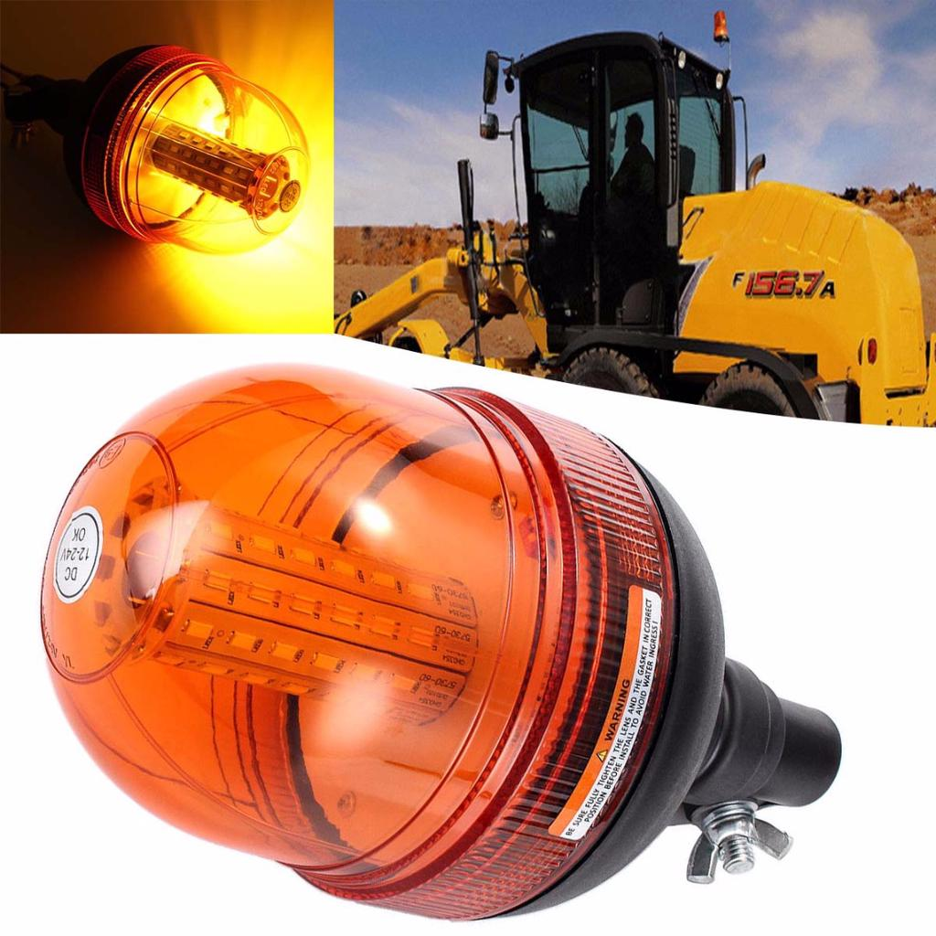 2x 60 Led Spinning Flash Amber Orange Warning Signal Beacon Lights Lamps Tractor
