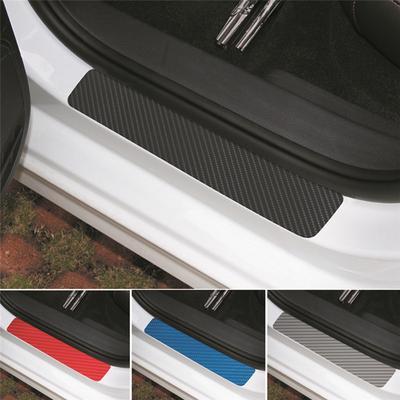 4Pcs 3D Carbon Fiber Black Auto Car Door Plate Door Sill Scuff Plate Car Sticker
