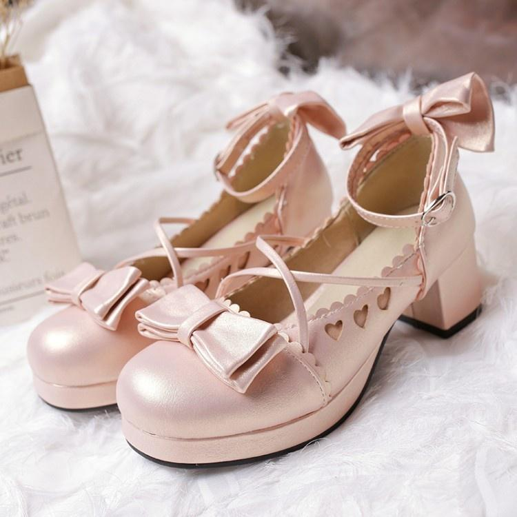 Details about  /Hot Women Japanese Style Round Toe Bowknot Lolita Chunky Heels Platform Shoes L