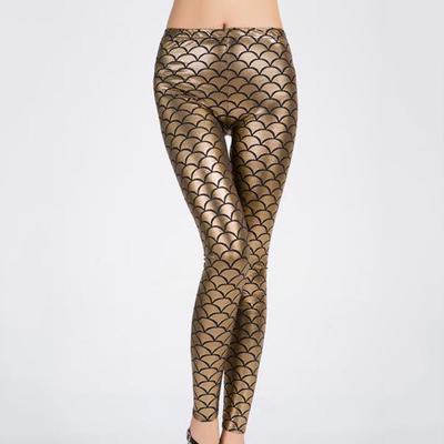 Las mujeres chica pescado escala sirena brillo impresión Slim Fit Disco  caliente polainas pantalones 83129aeb7ba8