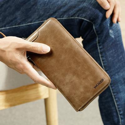 Dark Brown Mens Clutch Wallet Long Style Multi-Function Handbag Genuine Leather Business Phone Bag Zipper Closure Card Case//19.5/×2.5/×10Cm