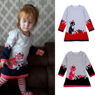 3f5d639bb 2-7Y personaje niño bebé niña otoño invierno doble capa manga larga Fox ropa  traje