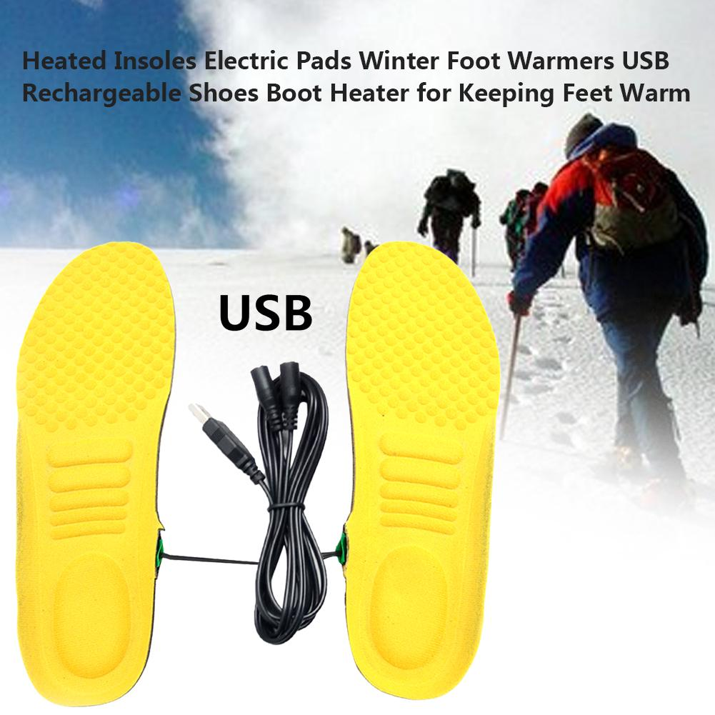 USB Electric Heating Rechargeable 1 Pair Shoes Insole Foot Winter Warm Equipment