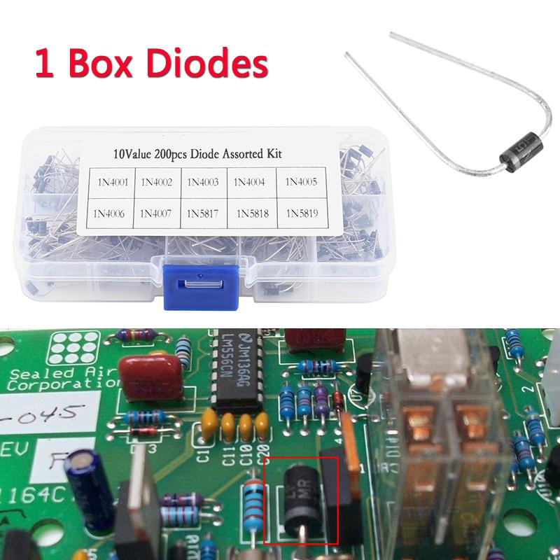 200pcs 10Values Rectifier Diode Assortment Electronic Kit 1N4001~1N4007 With Box