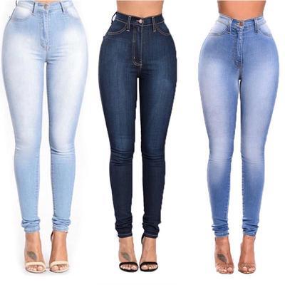 Womens Stretch Skinny Denim Jeans Jeggings High Waist Pencil Pant Trouser  S-4XL