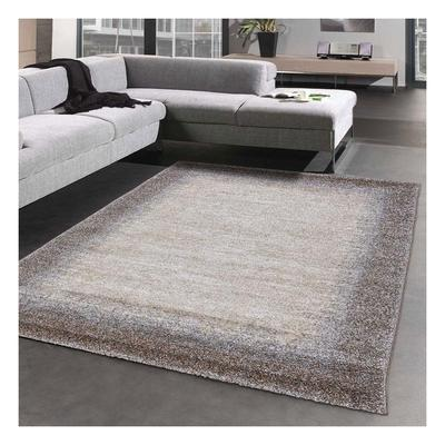 Carpet modern living room rug low pile carpet brown beige size 60x115 cm