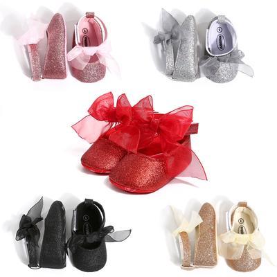 Nouveau-né Bébé Filles Imprimé à Pois Noeud Hairball soft sole Crib Shoes 0-18 M