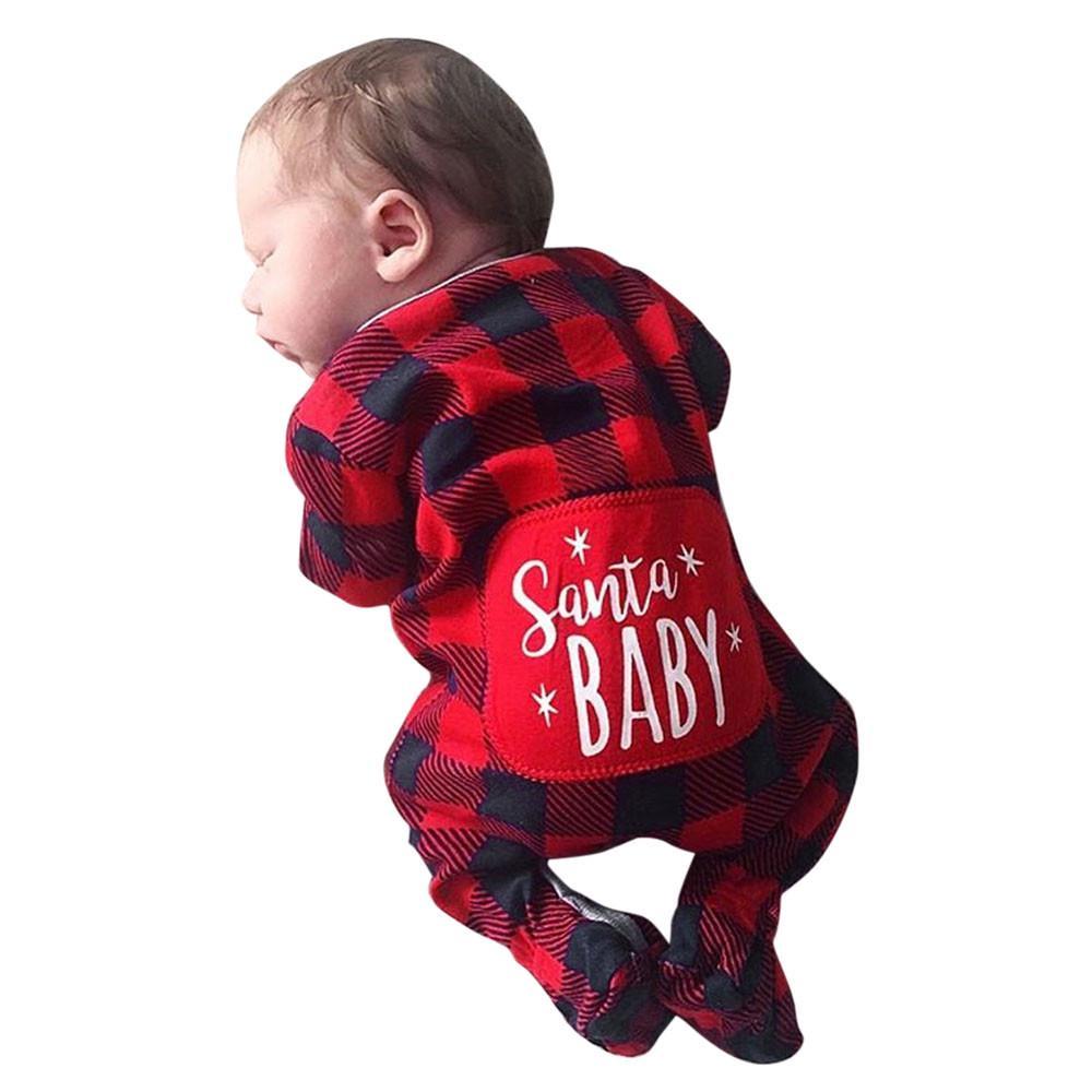 Infant Baby Boys Girls Christmas Santa Xmas Letter Plaid Romper Jumpsuit Outfits