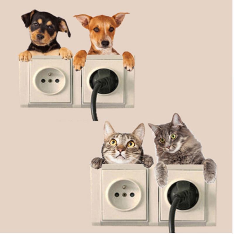 3D наклейки мультфильм кошка собака переключатель стикер жизни номер кровать стены Термоаппликации домашний декор фото
