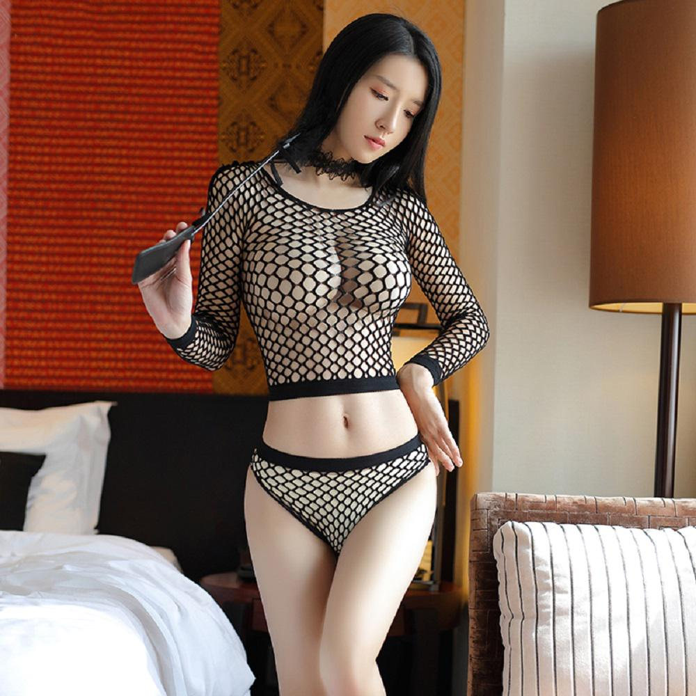 Women Lingerie Long Sleeve See Through Mesh Fishnet Crop Top Panty Set Sleepwear