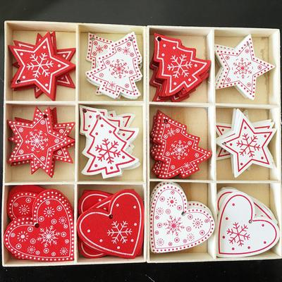 10pcs New Year Wood Christmas Tree Ornament Wooden Hanging Pendants Gifts Snow Elk Christmas Decora