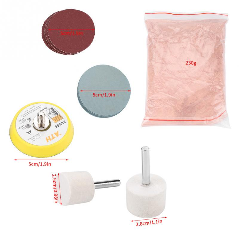 Glass Polishing Kit Glass Scratch Removal Kit Cerium Oxide Polishing Powder Felt Polishing Wheel Disc Pad with Drill Adapter Glass Abrasive Disc Set