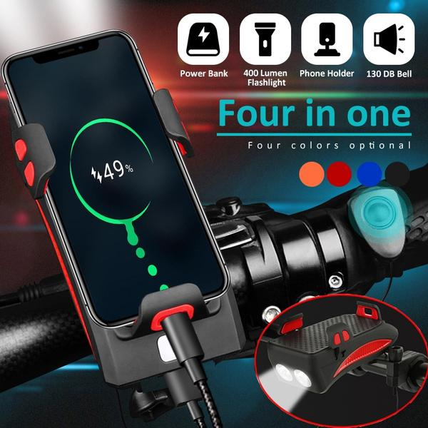 4 in 1 Bicycle Bike Head Light Horn Phone Holder USB Rechargeable LED Front Lamp