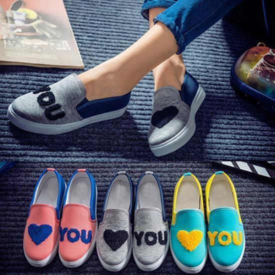 春季新款爱心字母拼色平跟平地舒适耐穿一脚蹬休闲女鞋