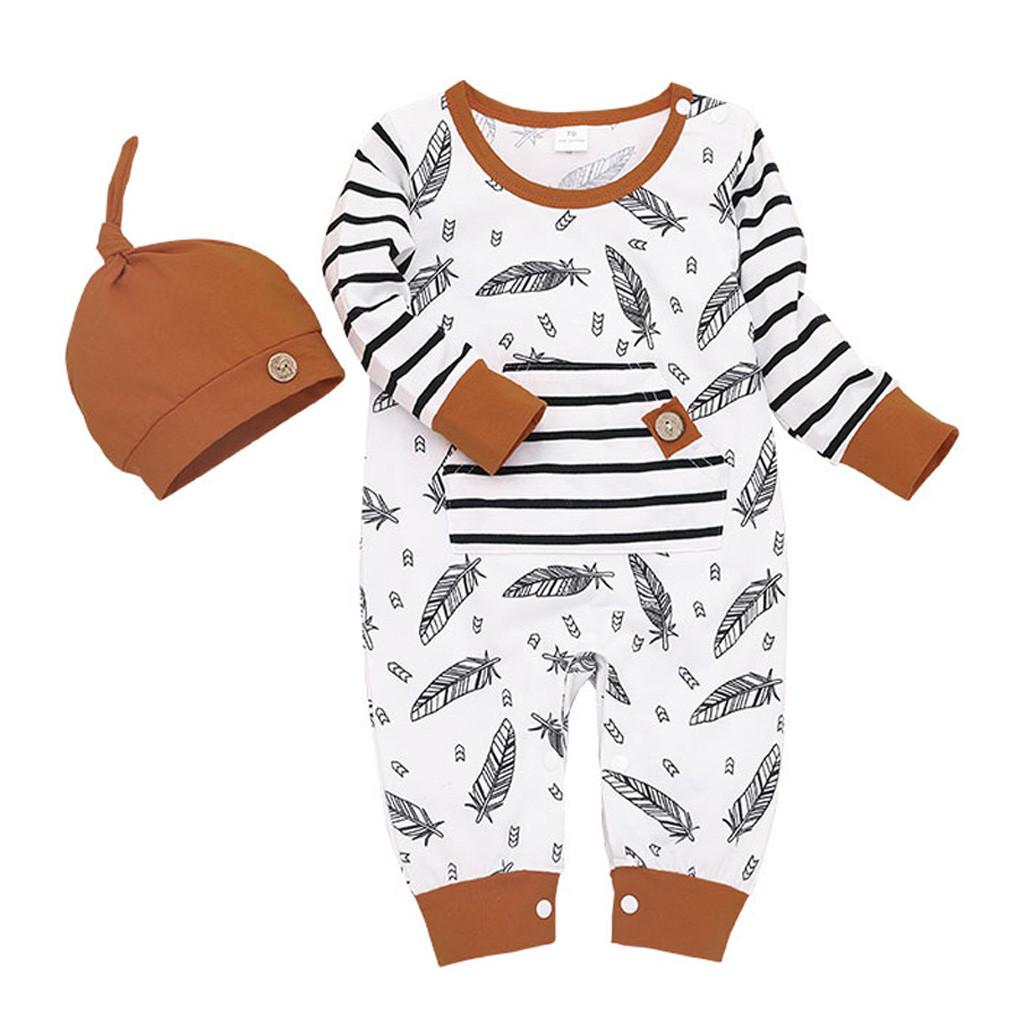 2pcs Newborn Baby Bear Hooded T shirt Tops Girls Boys Feather Striped Pants Set