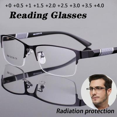 1Pcs Anti Blue Reading Glasses Men Retro Metal Frame Square Presbyopic Glasses for Men Business 0 +1.0 +1.5 +2.0 +2.5 +3.0 +3.5 +4.0