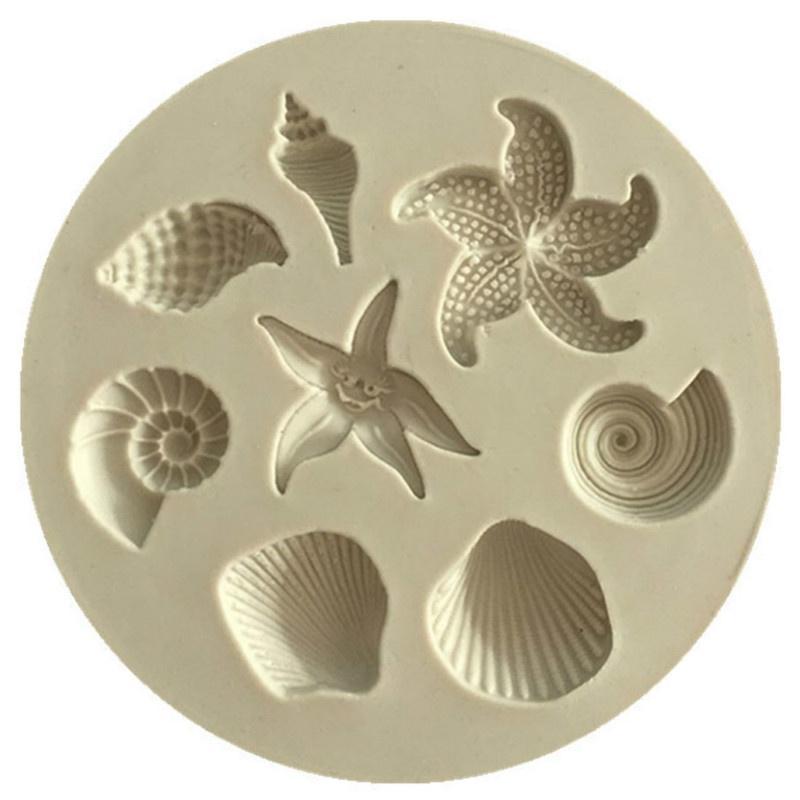 Торт декор инструменты DIY морских существ Конч Starfish оболочки помадной торт конфеты силиконовые формы Creative фото