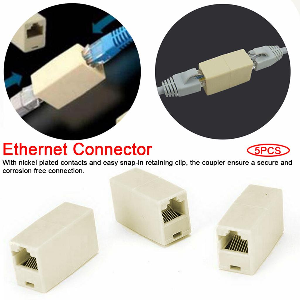 20 Pcs RJ45 CAT5 Network Cable Connector Adapter Extender Plug Coupler Joiner