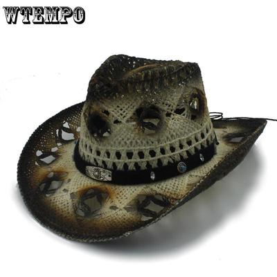 8a7359b8c7486 Women Men Straw Western Cowboy Hats Gentleman Lady Roll Up Brim Cowgirl  Sombrero Hombre Hat