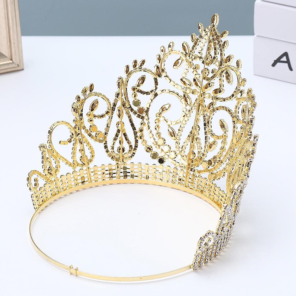 Details about  /6cm High Full Crystal Pearl Luxury Wedding Bridal Party Pageant Prom Tiara Crown