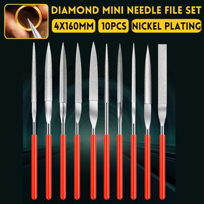 140/×3mm 10pcs Silver 2 Types Diamond Needle File Set DIY Tools