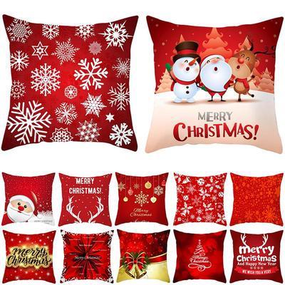 Red Christmas Print Cushion Cover Xmas Santa Claus Snowflake Snowman Home Sofa Decorative Pillowcase