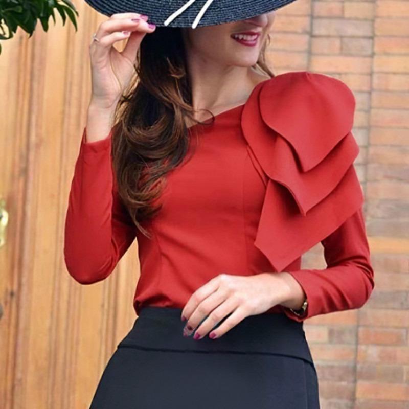 Red Blouses Long Sleeves Left Big Leaves Elegant Office Ladies Classy Modest Tops Shirt Women Fashion Autumn Bluas For Women Buy From 18 On Joom E Commerce Platform
