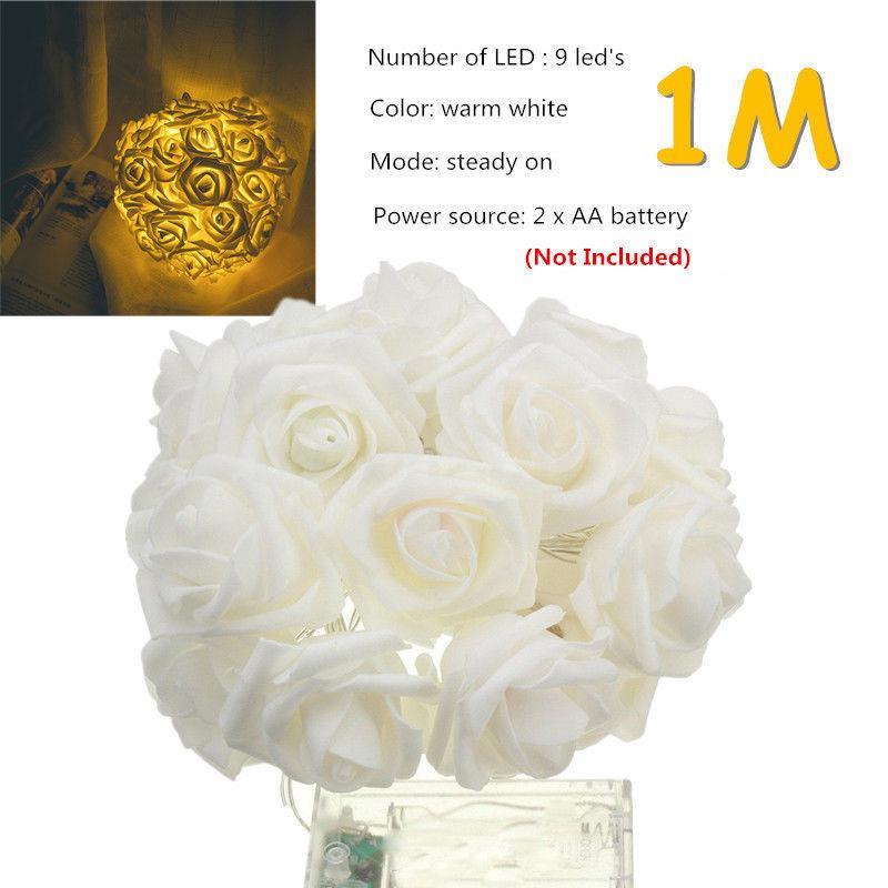 1.5M Artificial Rose Garland String Light LED Fairy Lights Valentine/'s Day Decor
