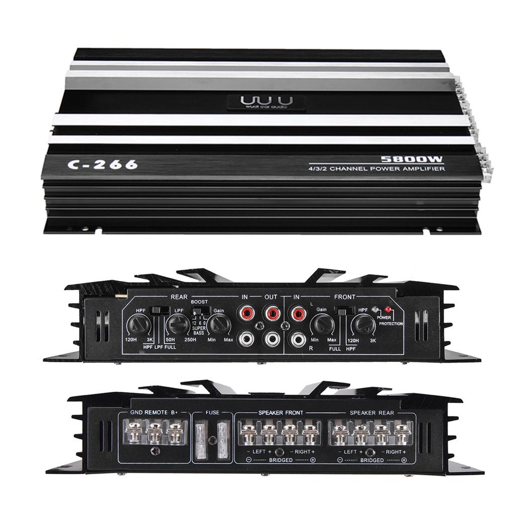 5800W Watt 4Channel Car Audio Power Amplifier Slim Class AB Amp Stereo Speaker