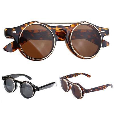 7b63ed3b2b Steampunk Goth Goggles Glasses Retro Flip Up Round Sunglasses Black ...