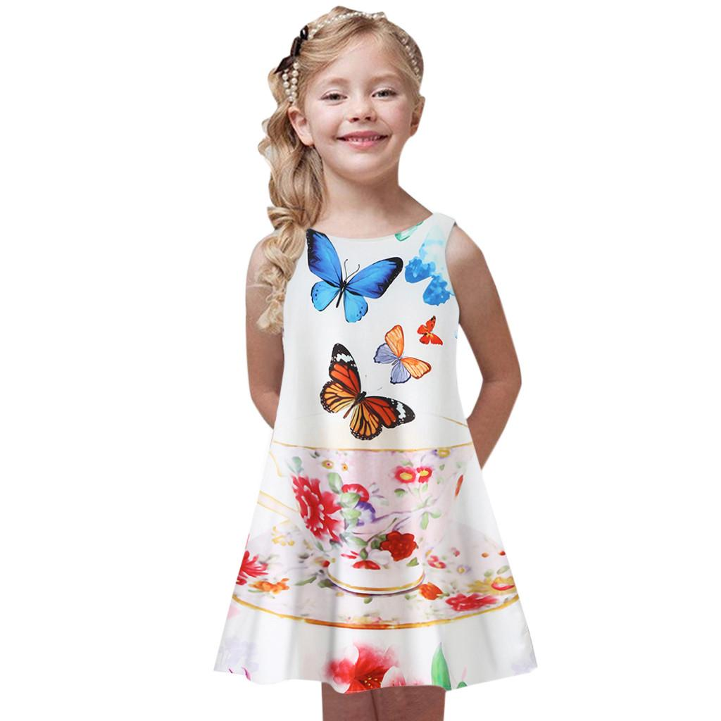 DHASIUE Baby Girls Sleeveless Dresses Floral Print Sundress Princess Party Dress Toddler Kids 2-7 Years