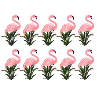 10PCS Flamingo Patch Embroidered Sew Iron On Bag Fabric Applique DIY Craft  X