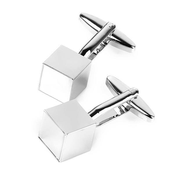 silver Cheapest Price From Our Site 1 Pair Of Mens Cube Shaped Stainless Steel Cufflinks Sleeves Buttons