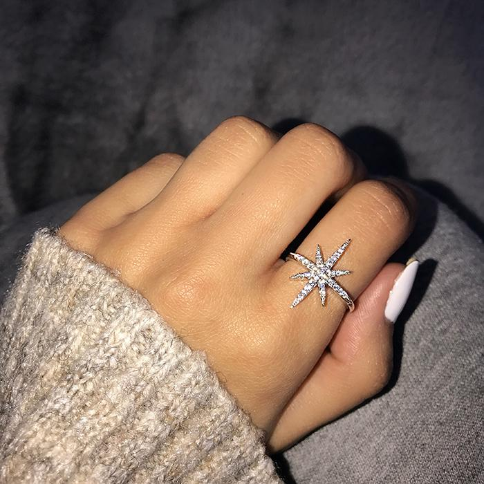 Gift Rings Plated Silver Jewelry Exaggerated Band Women Engagement Women Wedding