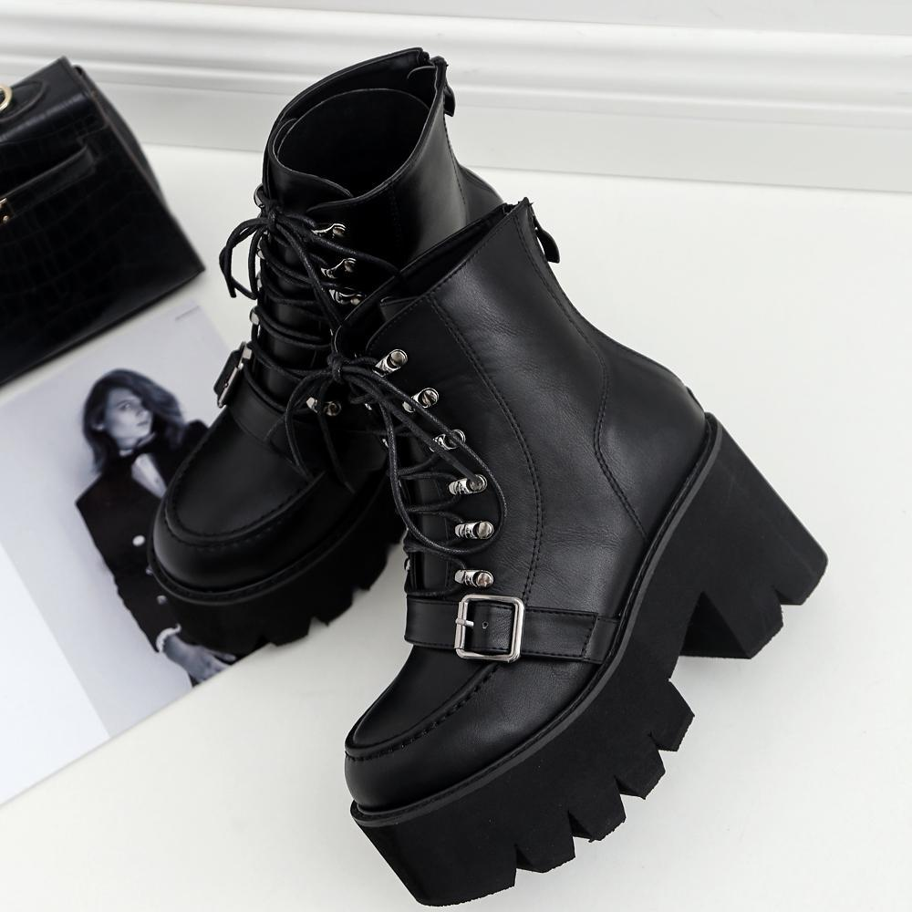 Punk fashion block high heel womens rivets buckle strap girls gothic ankle boots