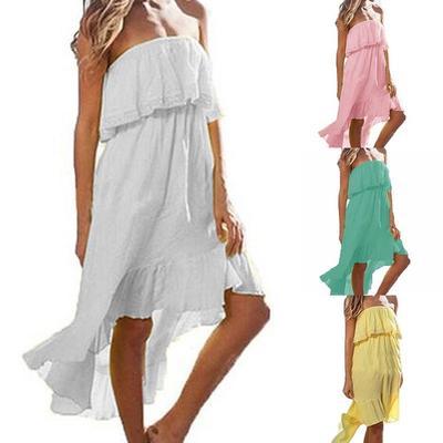 76e9cb56323 Сексуальная женщин мода лето пляж покинуть крючком плечо Раффлед случайные  нерегулярные завернутый платья