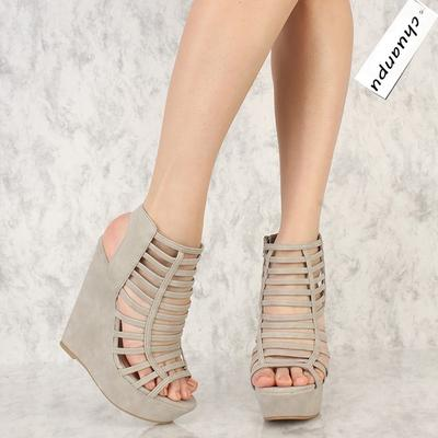 f4e65e896 Summer Women Strappy Platform Wedge Heels Nubuck Sandals Ankle Shoes Grey