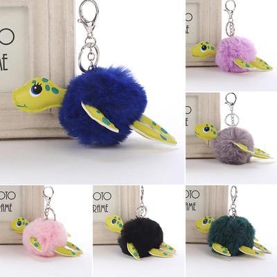f168d1fc9898f Sevimli Hediyelik Çanta kürk topu yumuşak pon pon kaplumbağa Anahtarlık  dekor Bayan kabarık peluş