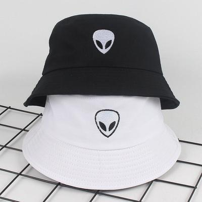 Unisex Embroidered Alien Foldable Bucket Hat Beach Sun Hat Street Headwear Fisherman Cap