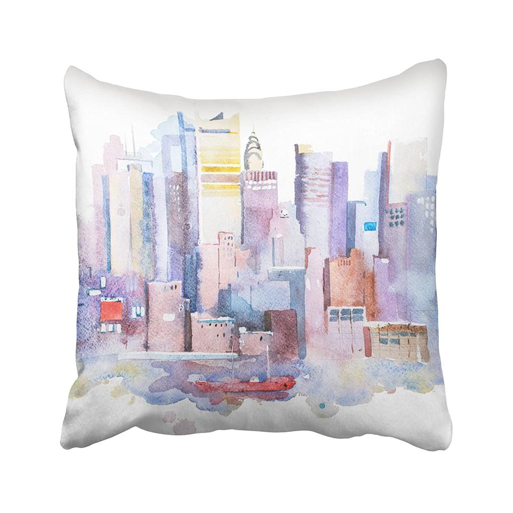 City Watercolor Drawing Of New York Cityscape Usa Manhattan Aquarelle Painting Paint Pillowcase Pillow Cushion Cover 16x16inch 40x40cm Buy At A Low Prices On Joom E Commerce Platform