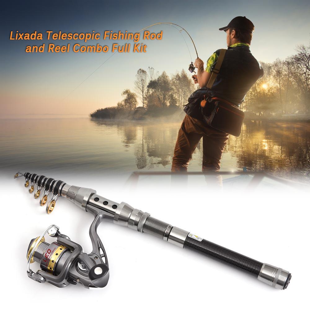 Carry Bag Lixada Telescopic Fishing Rod Spinning Reel Combo Full Kit 100M Line