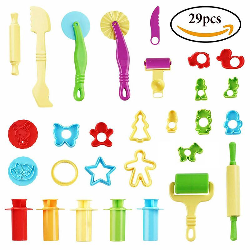 29pcs Play Doh Kids Tools Set Modelling Craft Play Dough Mould Mold Toy Cutters