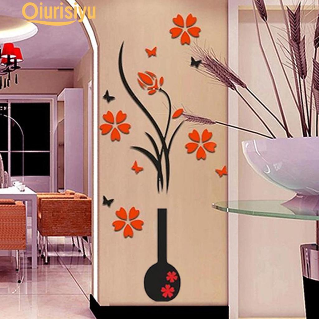 Kinds Vase /& Plum Modern Simple 3D Acrylic Wall Sticker Vinyl Decal Home Decor