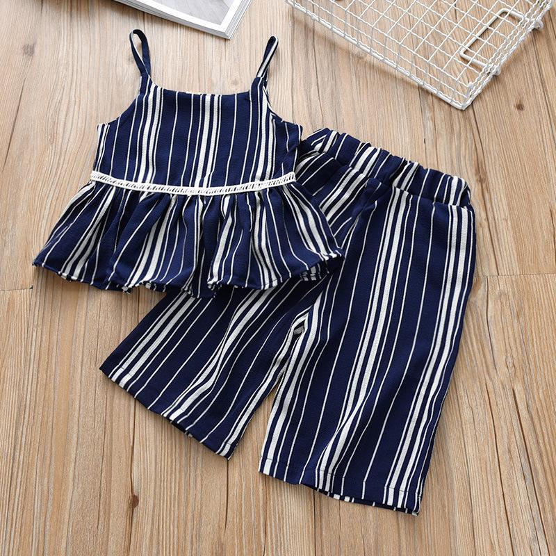+cropped Set Noodle Summer Pants Kids Girls Chiffon Colors Outfits 2pcs Tops