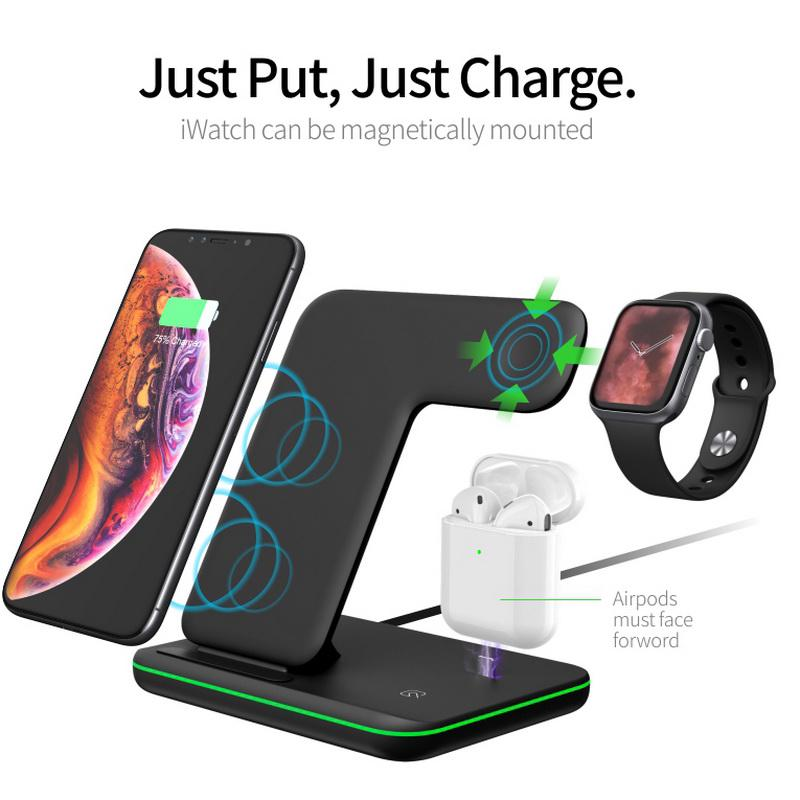 Details about 3in1 Qi Wireless Charger Dock Stand For Apple Watch Airpods iPhone 8 X XR XS Max