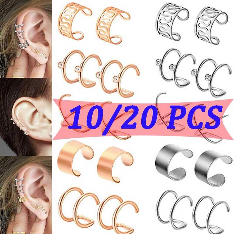 1//2 Pair Sliver Clip on Non Pierced Ear Cuff Cartilage Helix Clip Earring Unisex
