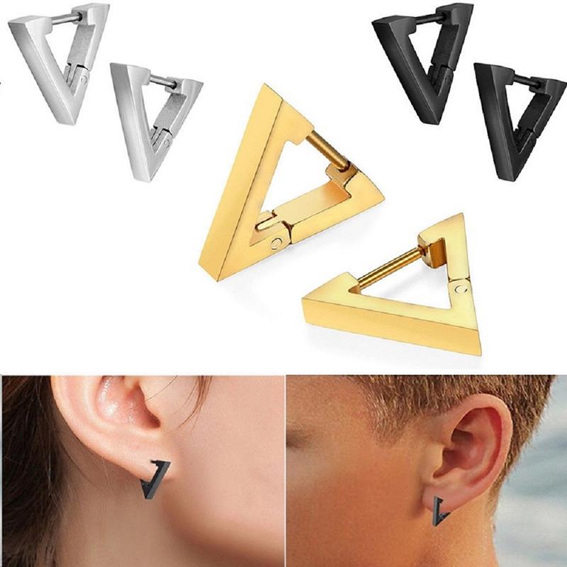 STAINLESS STEEL SCREW BACK PYRAMID TRIANGLE EARRINGS MENS STUD GEOMETRY EARRING