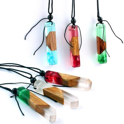 Rope Faux Butterfly Handmade Wood Horn Sweater Chain Necklace Flower Pendants